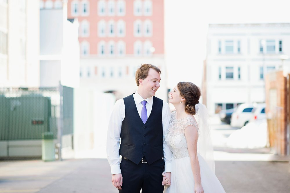 Downtown Cedar Falls Iowa Wedding Photography