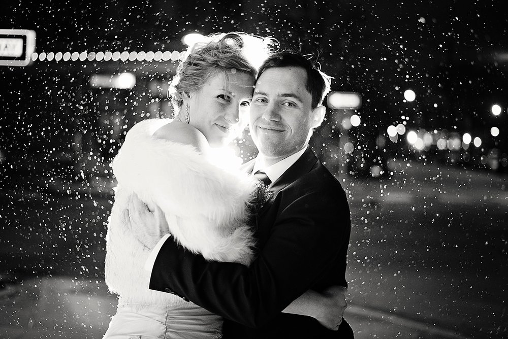 Downtown Iowa City winter wedding photographer