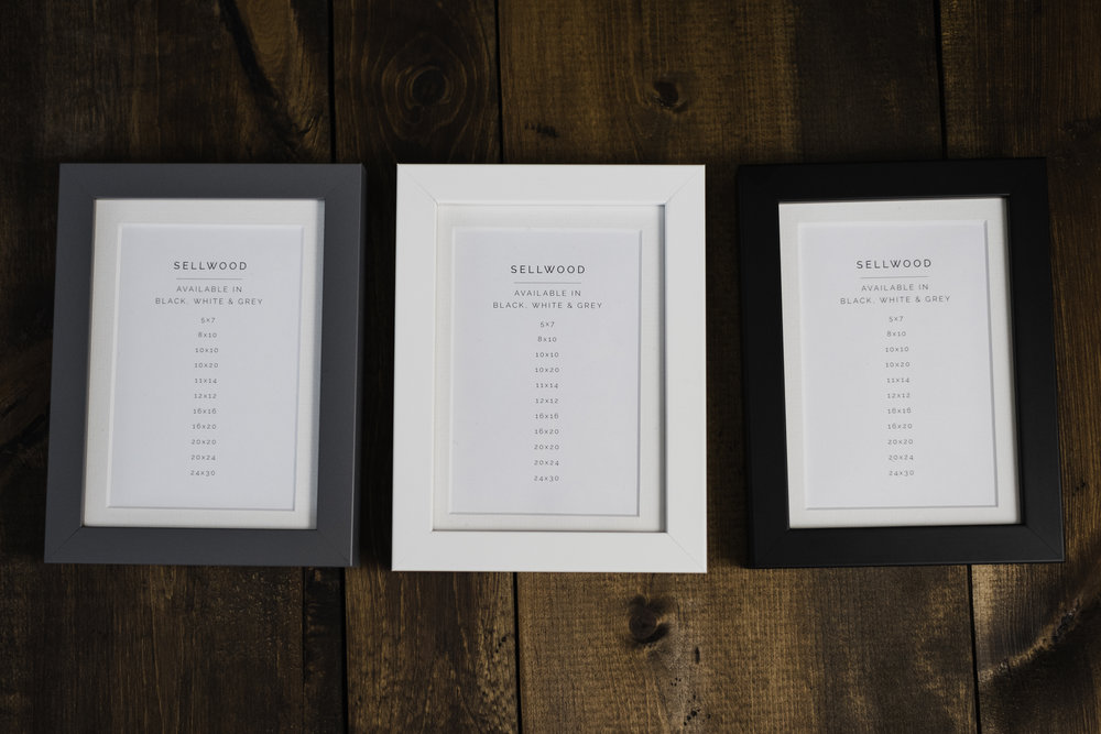 The three Sellwood finish options for Sisi Connor Photography wedding collections - Teal, white and black.
