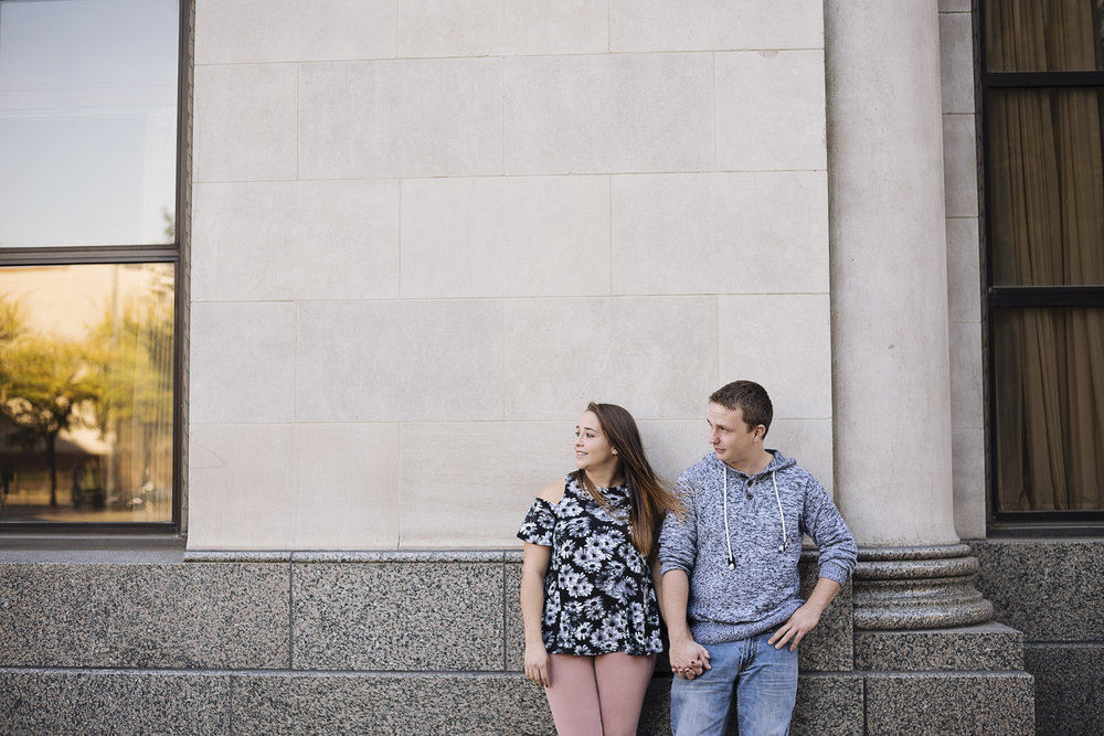 Downtown Cedar Rapids Engagement | Iowa Wedding Photographer