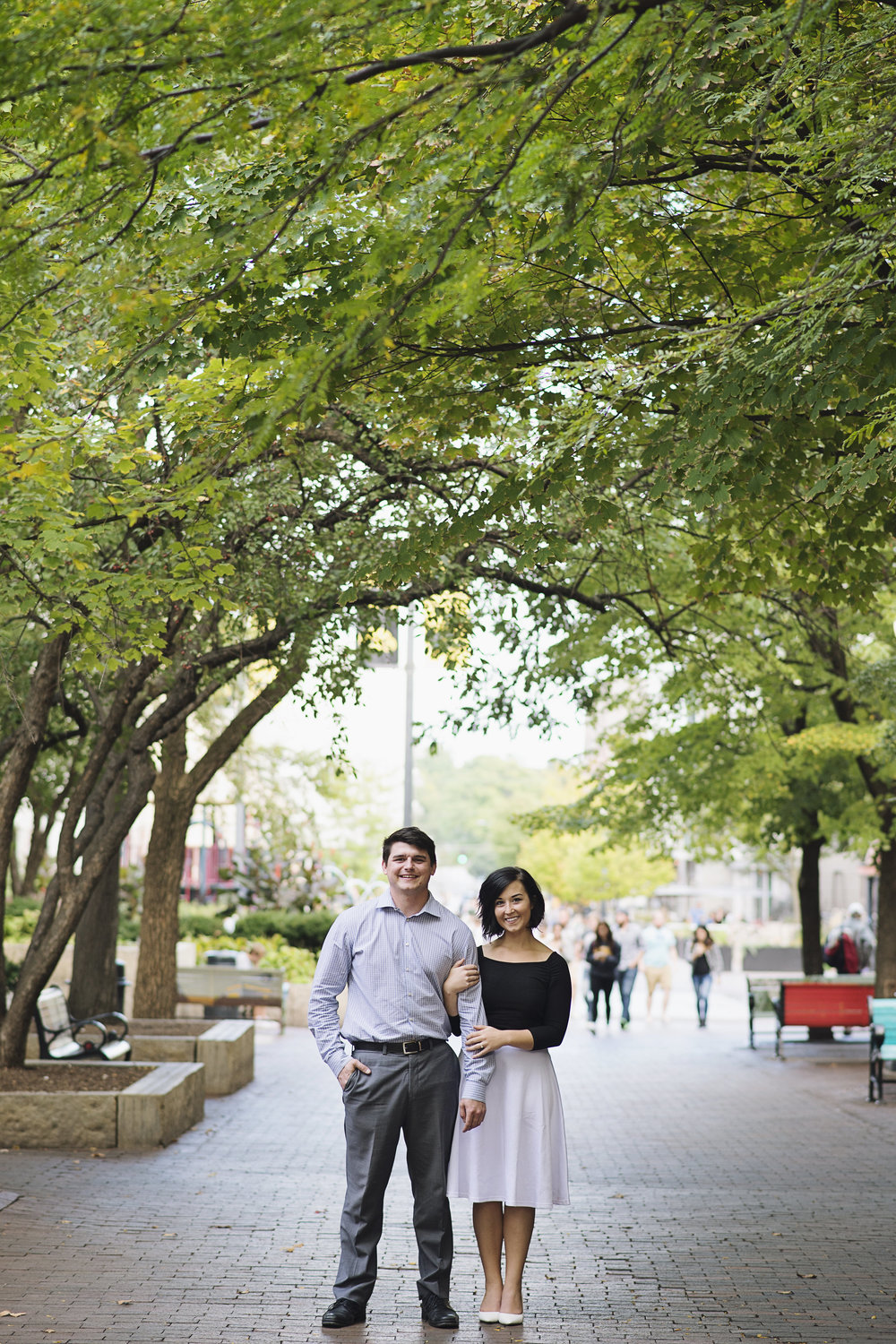 Downtown, Ped Mall Engagement Session | Iowa City Wedding Photographer