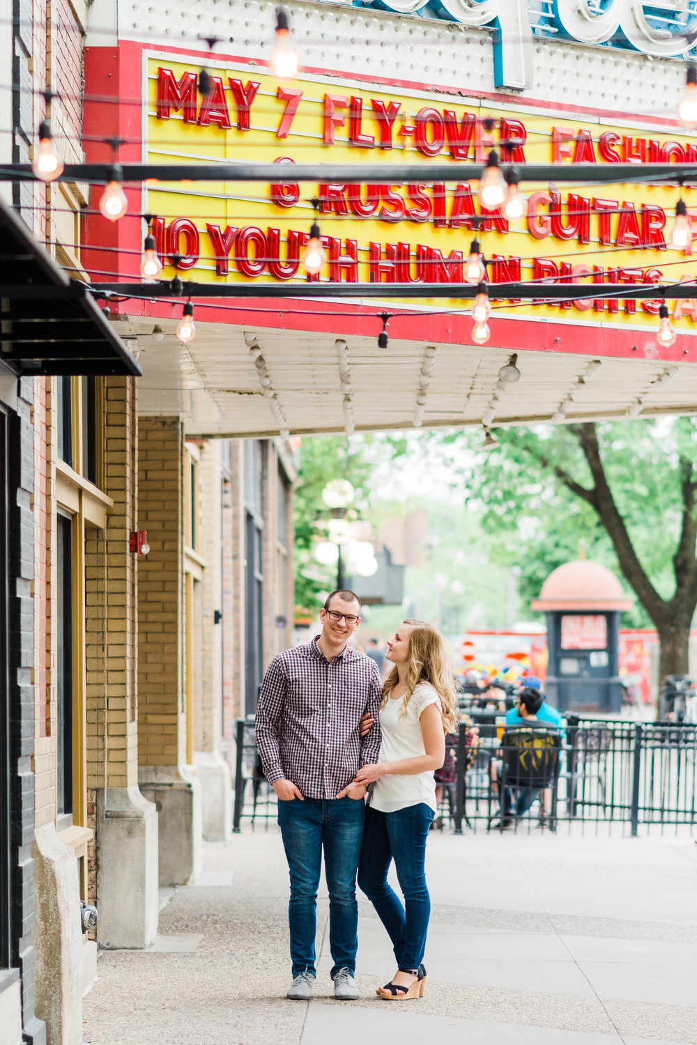 Downtown, Englert Theatre Engagement Session | Iowa City Wedding Photographer
