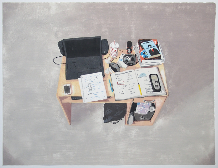 "Kevin Frances,  Lucas's Desk , 2014, Japanese Woodblock Print, 22"" x 30"""