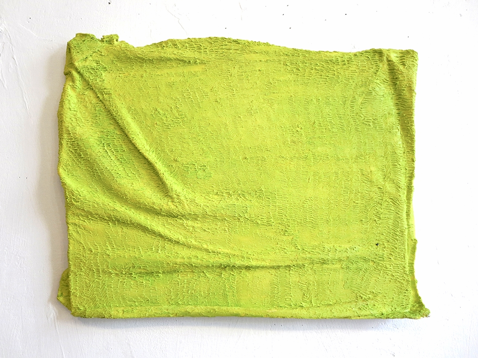 Tennis ball colored T-shirt on a hard object, Oil on Canvas on Wood, 16 X 12 in, 2013