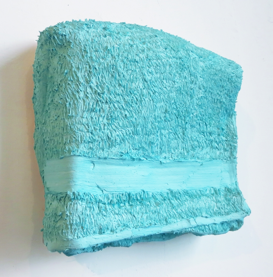 Towel Folded, Oil and acrylic on canvas and wood, 12 X 14 inches, 2014