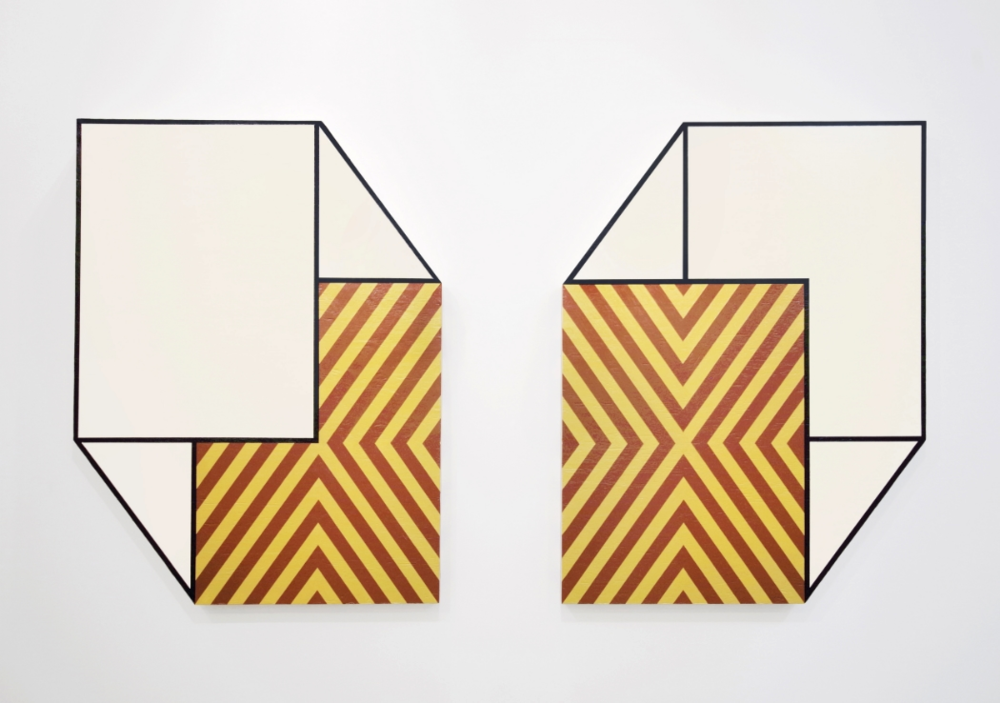 Santa Fe II and Santa Fe III, 2015, Acrylic and Lacquer on Plywood, 48 × 36 × 3 in