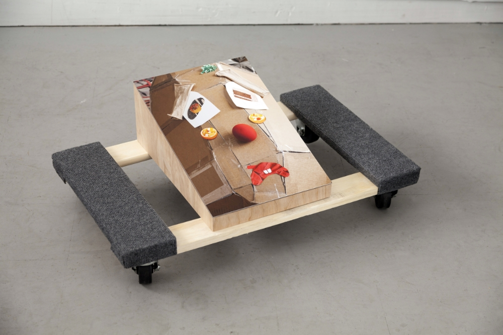 "Barbara Weissberger, The Saddest Clown, Digital Photograph / Archival Pigment, Print and Wood, Dolly, 11 ¼"" X 30"" X 18"", 2016"