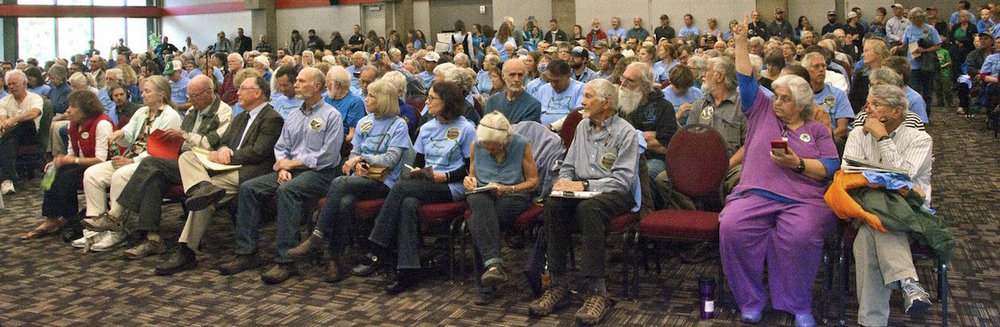 Blue shirts: Supporters for Cascade-Siskiyou National Monument