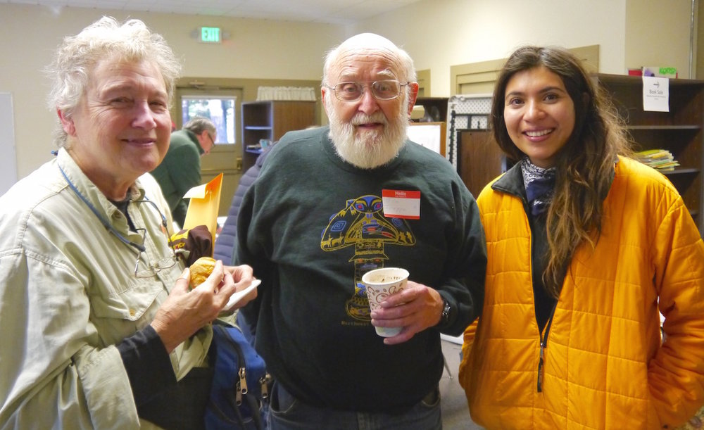 Renown mycologists  Darlene Southworth, Jim Trappe,  and   Carolina Piña Páez .    T Dickey photo