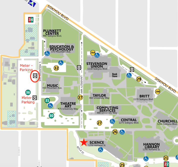 SOU Parking Map. Science Building and nearby parking lots.