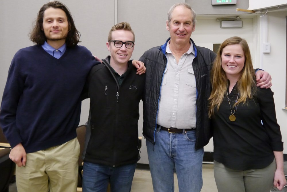 L to R: Martin Harris and Kieran McCann (University of Oregon, BS Earth Sciences), Charles Schelz (BLM Ecologist), and Emily Burke (Southern Oregon University, Environmental Education) K Boehnlein photo