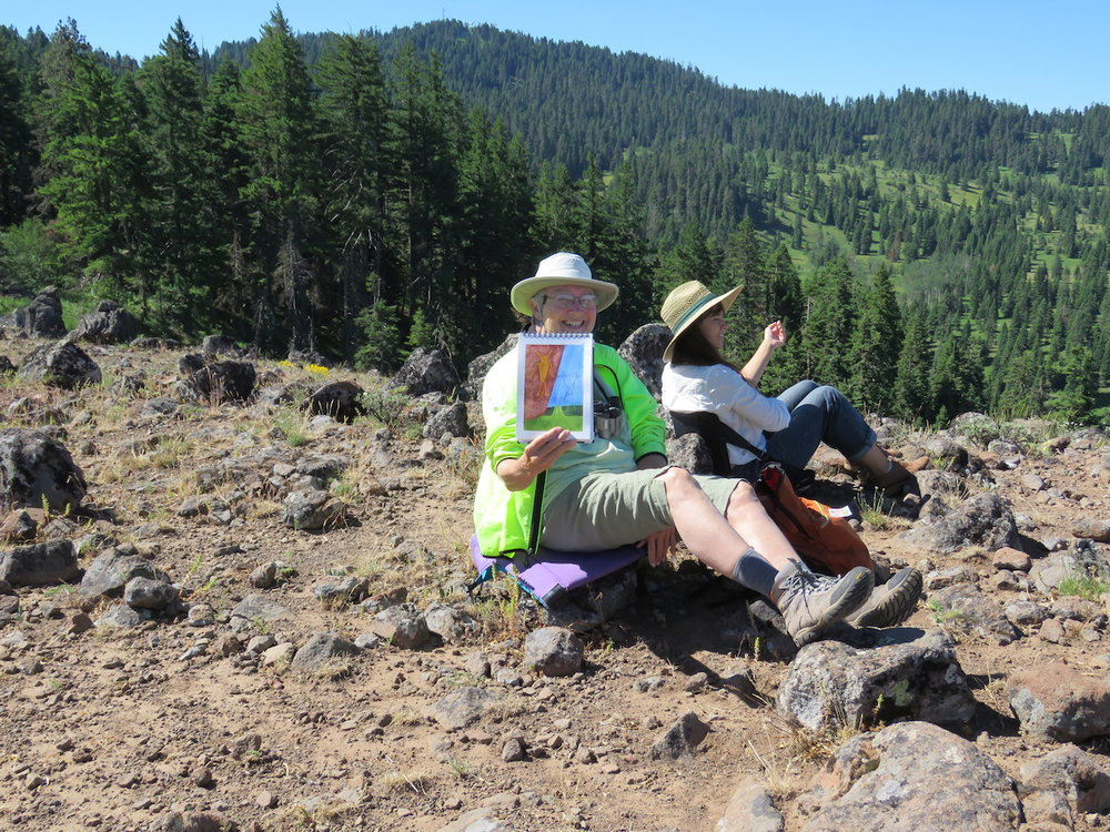 Artist-in-residence Darlene Southward conducted a plein air painting session at the Cascade-Siskiyou National Monument.  BLM photo by C Beekman,