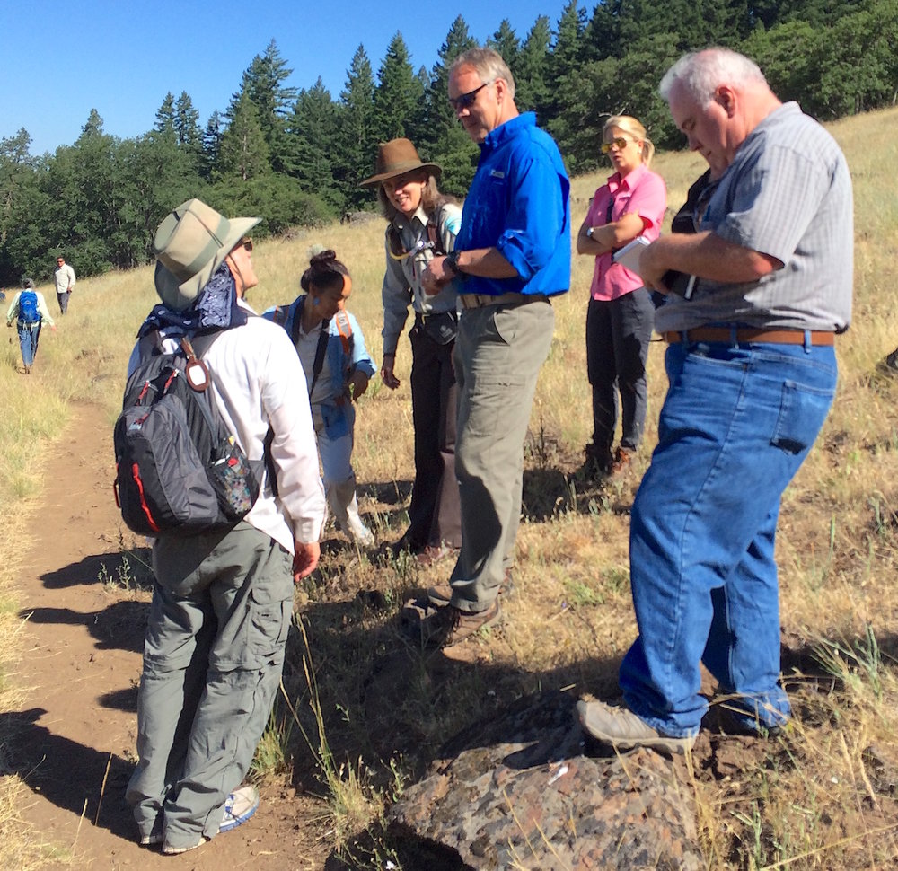 US Secretary of Interior Ryan Zinke (blue shirt) on Greensprings Loop with Friends of Cascade-Siskiyou National Monument. WWC photo.