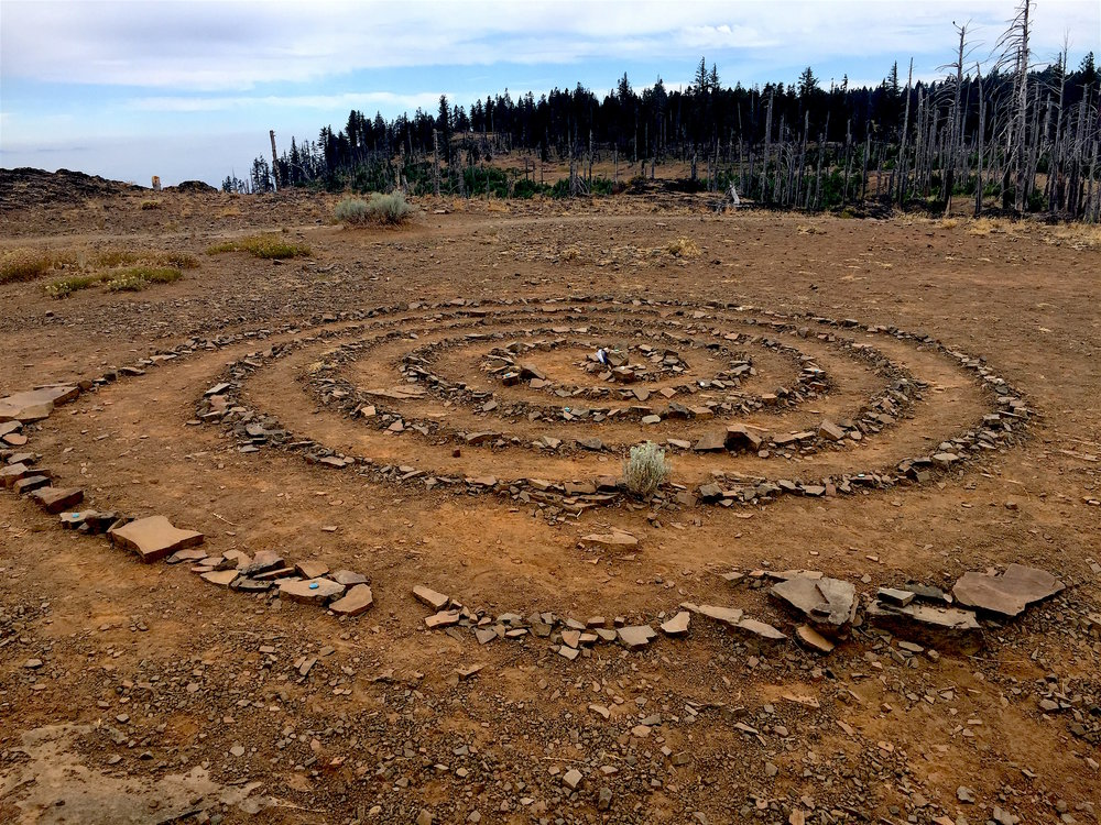 LEAVE NO TRACE. Keep it natural - Leave what you find. An elaborate labyrinth has been created on the top of Grizzly Peak. It will soon be dismantled and its components returned to their natural state on the ground.  CBeekman 2017 photo
