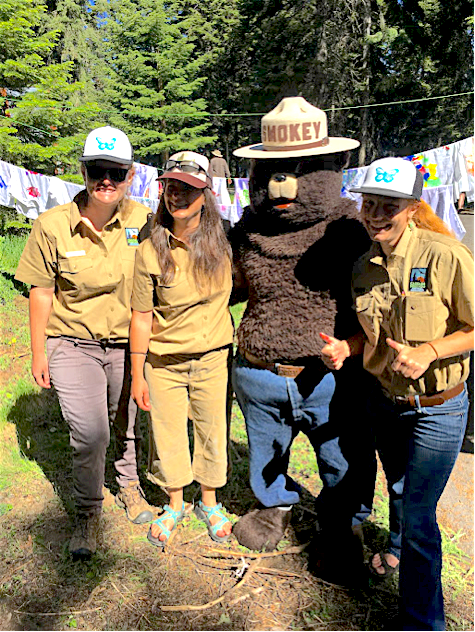 Ranger interns Morgyn, Becky, and Elizabeth (l to r) with Smokey Bear at BLM Free Fishing Day, June 6, 2017. BLM photo