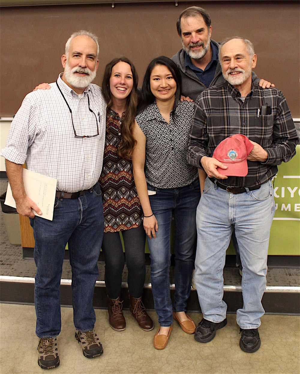 2018 Monument Research Symposium, (l-r): Dr. Michael Parker, SOU students Hope Braithwaite and Suphasiri Muttamara;KBO executive director John Alexander, and Dr. Jad D'Allura. Symposium sponsored by Friends of CSNM. Photo by Ellie Thompson
