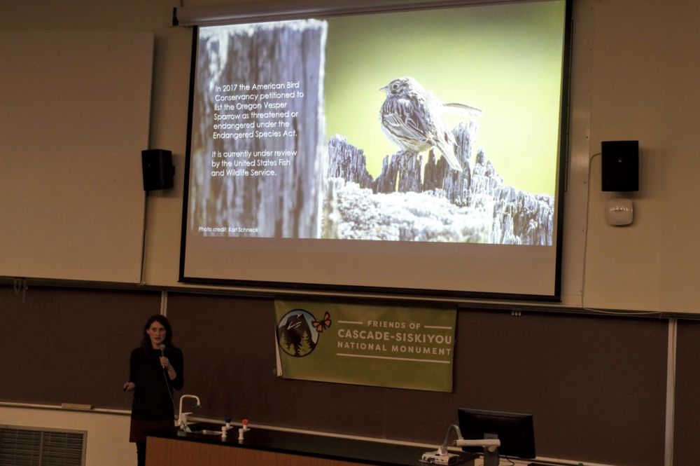 Emily Lind, Student Researcher, presents findings on the Oregon Vesper sparrow.