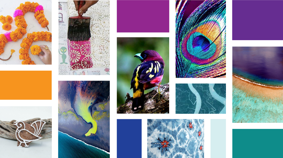 The concept moodboard explored the beauty of a bird's plume, geographical beauty of aerial photography and the intricacy of Indian craft techniques.