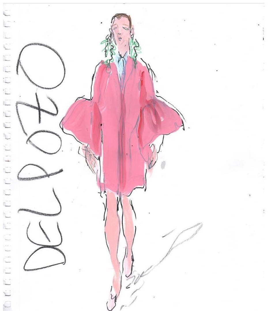 Delpozo SS17 look as illustrated by Richard Haines for the New York Observer.