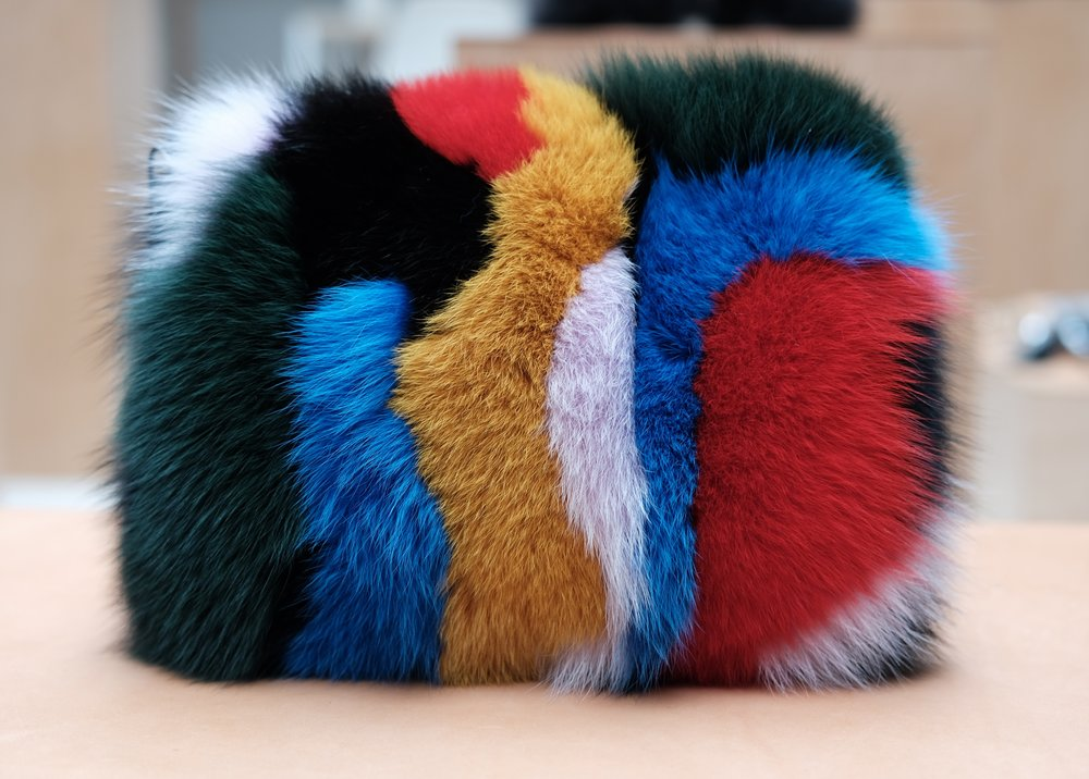 Tassel Pouch in Multi Fur.