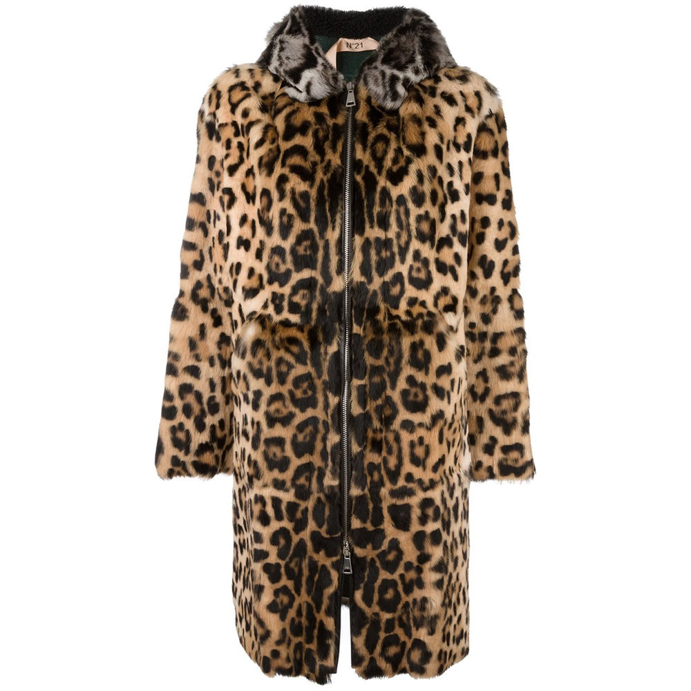 No. 21  Leopard Print Hooded Coat