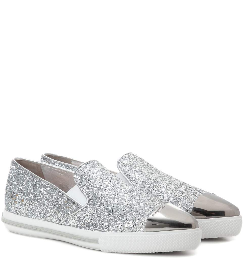 MIU MIU GLITTER SLIP-ON SNEAKERS -