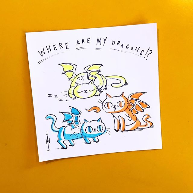 Where are MY dragons!? 🔥🐲🐲🐲🔥kitteh #dragons #kitty #cat #feline #cartoon #postit #note #doodle #drawing #fiery #illustration #pets #catdragons #wherearemydragons #dangerous #GOT #kittehs #imwaiting #imaginarybeasts #gameofthrones 🔥🐱🐱🐱🔥