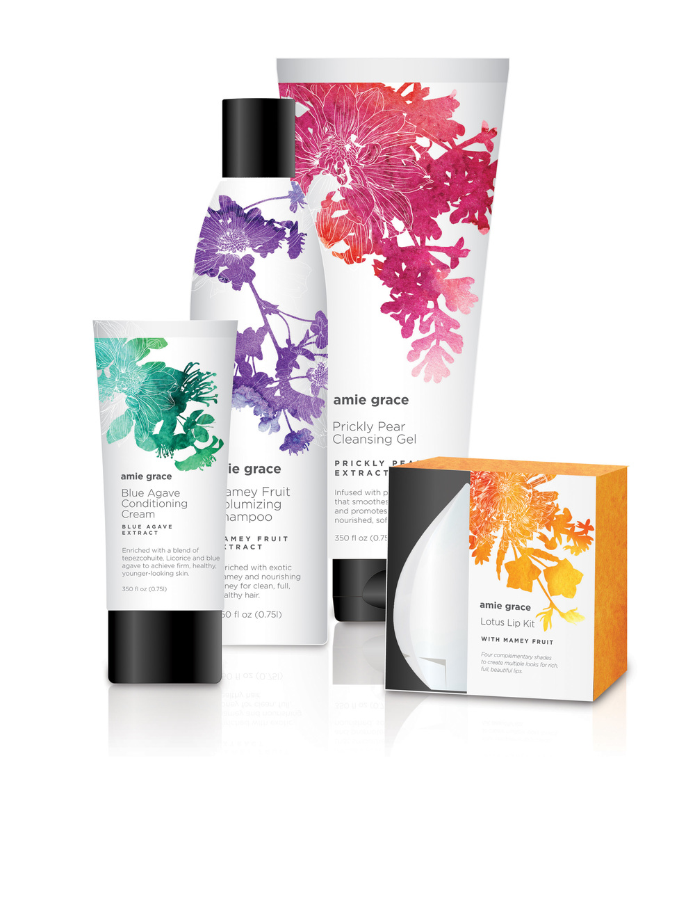 Amie Grace haircare and skin products concept developed for CVS/pharmacy.