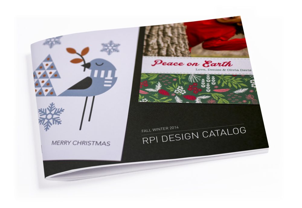 Retailers such as Costco, Shutterfly and TinyPrints choose from card and photo book collections from RPI's 2014 Fall/Winter Catalog to carry in their online stores.  I developed RPI's photo merchandise collections leading with extensive trend research and designed for consumer customization.