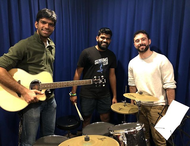 That's Abi, Rohith and Joe! All students at RMA and have teamed up as a band for our OPEN MIC NIGHT! They have just finished a Sunday night rehearsal and are ready this Tuesday at CONCRETE BOOTS BAR(Beers! Burgers! Great Veg options too!). All welcome. Tuesday 7pm, 381 Burnley St, Richmond.