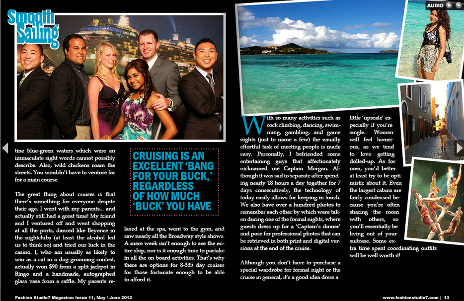 Fashion Studio 7 Magazine;   Cruise Article