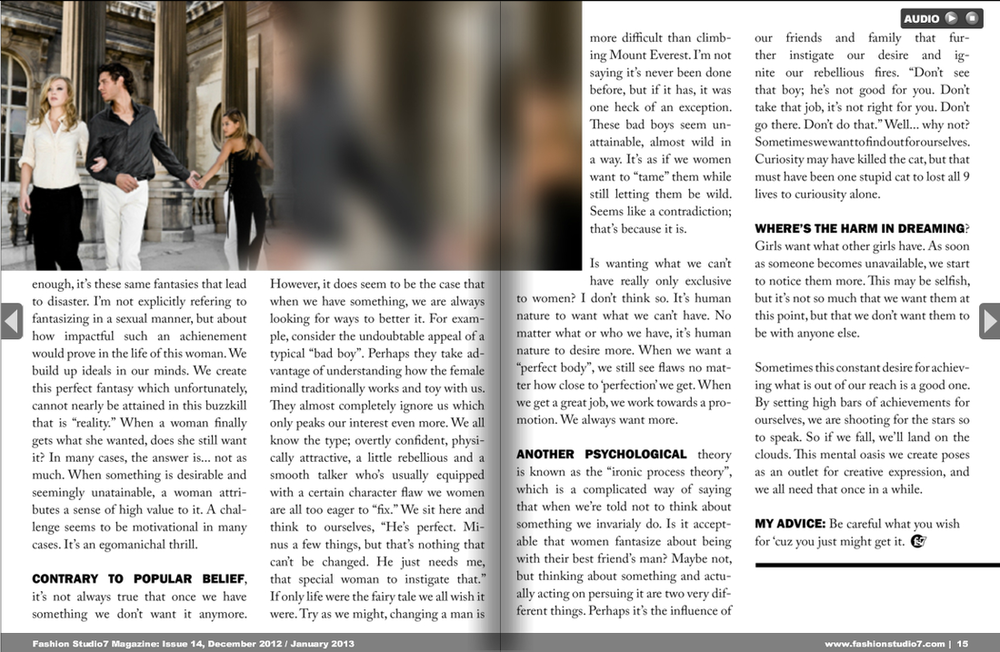 Fashion Studio 7 Magazine, Issue 15:  Psychological Article