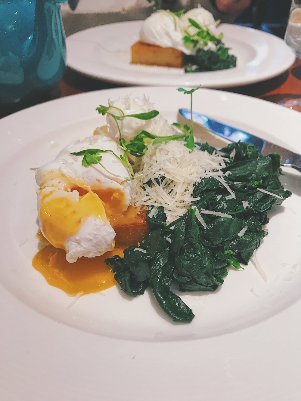 Poached eggs spinach parm Blixen London