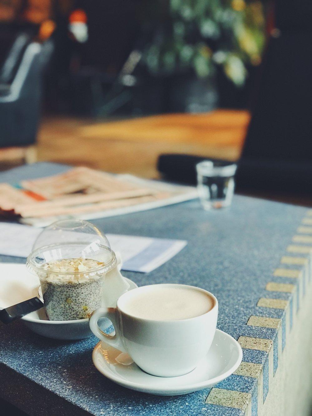 Chia pod and chai almond milk latte - still starting the day clean!