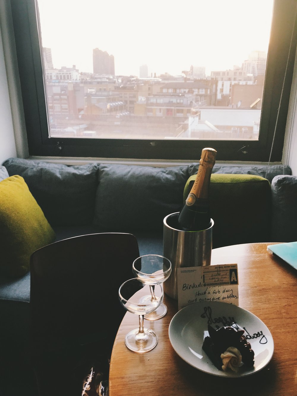 Ace Hotel London birthday champagne and brownie surprise