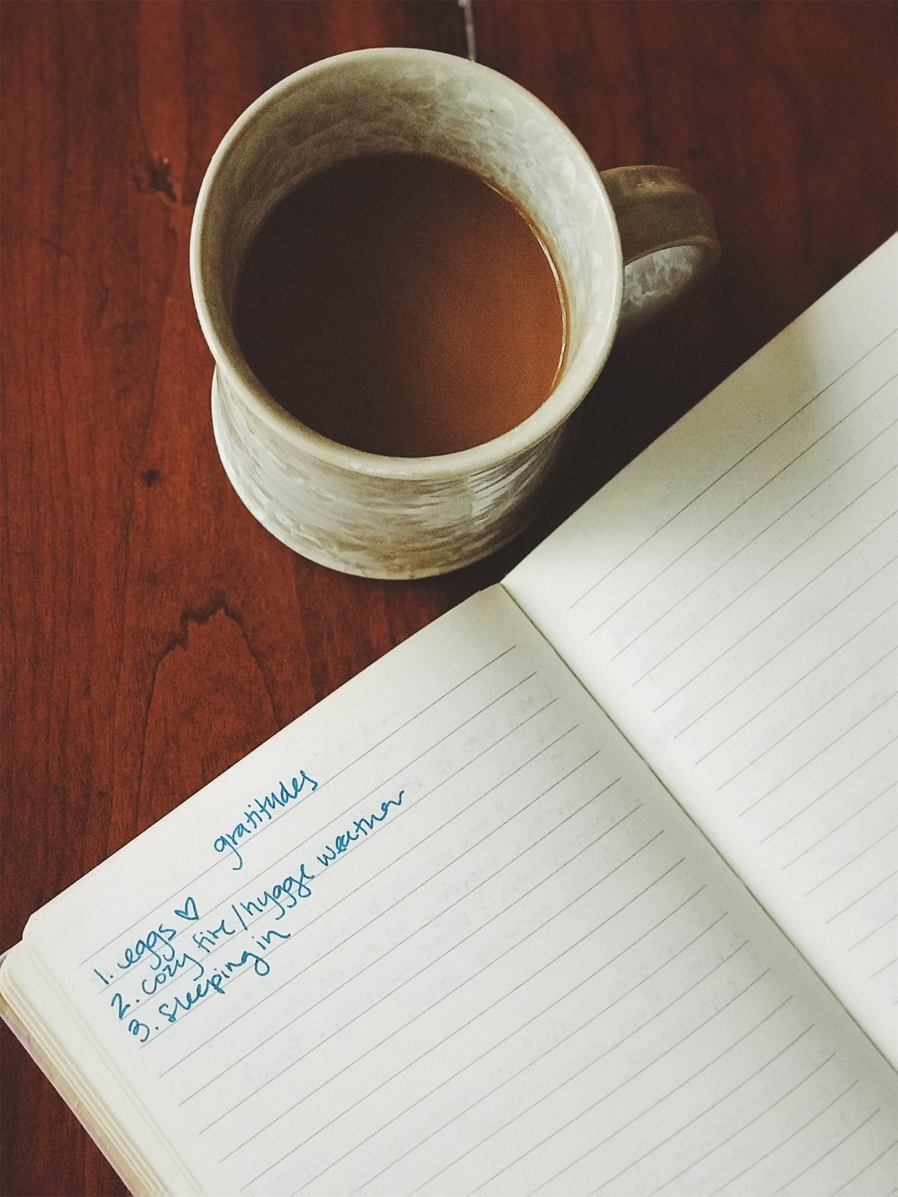 a simple day with my gratitude journal and coffee.