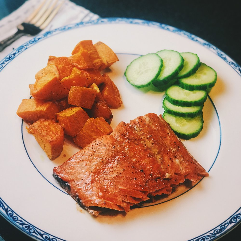 healthy eating during pregnancy salmon omega 3s cucumbers sweet potato