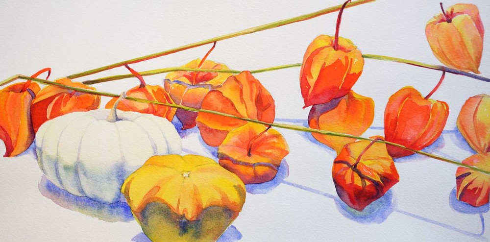 """Pumpkins and Chinese Lanterns II"", 8 "" x 16"", watercolor (unavailable)"