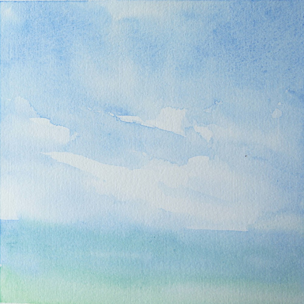 """Clouds/Water 5"",  7"" x 7"", watercolor (available)"