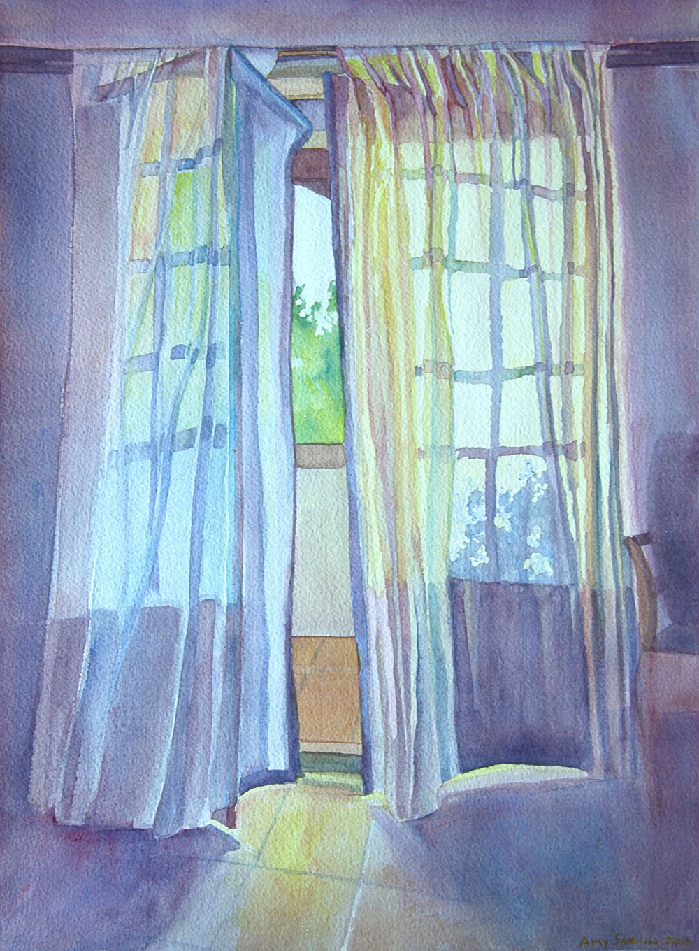 """The Guest Room, Les Bassacs"", 16"" x 12"", watercolor (private collectoin)"