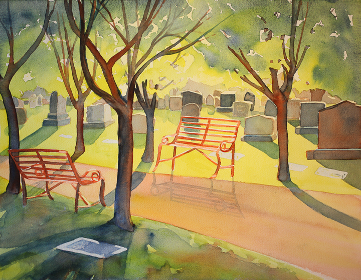 "Rest Stop (Congressional Cemetery)"", 14"" X 18"", watercolor (private collection)"