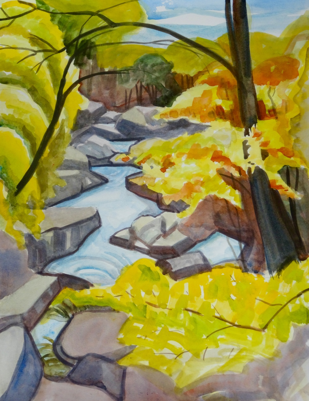 "Glen Echo Creek, 16"" x 12"", watercolor (private collection)"