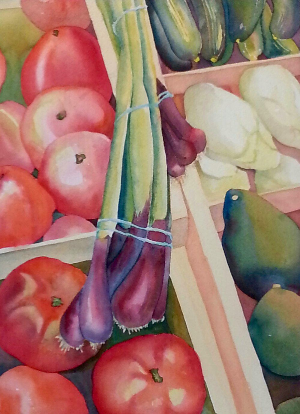 "The Vegetable Vendor, watercolor, 20"" x 16"", (unavailable)"