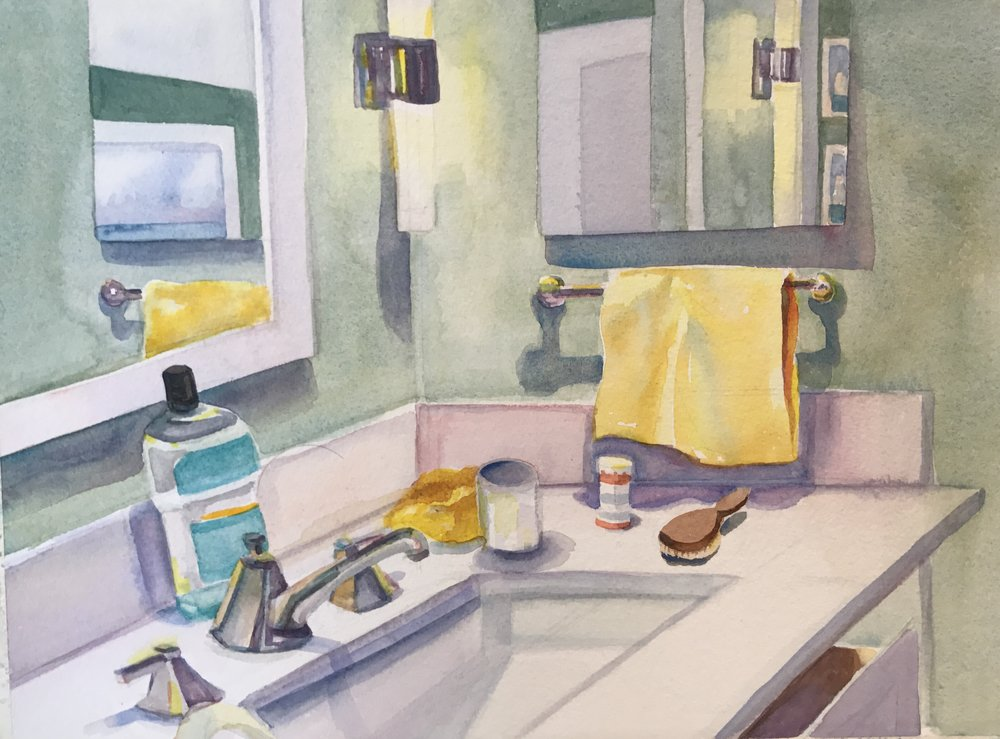 "The Bathroom, watercolor, 10"" x 14"", available"