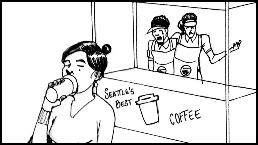 She takes a sip of her coffee and quickly moves on. The workers look at one another and shrug.