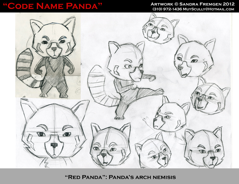 Here's an early sketch of Red Panda for the video game.
