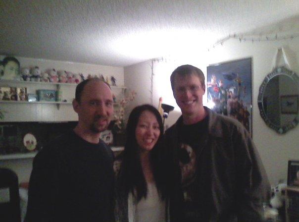 Andy (on the right) visiting Tom and I in our apartment in West LA. Do you see my hello kitty collection in the background? :)