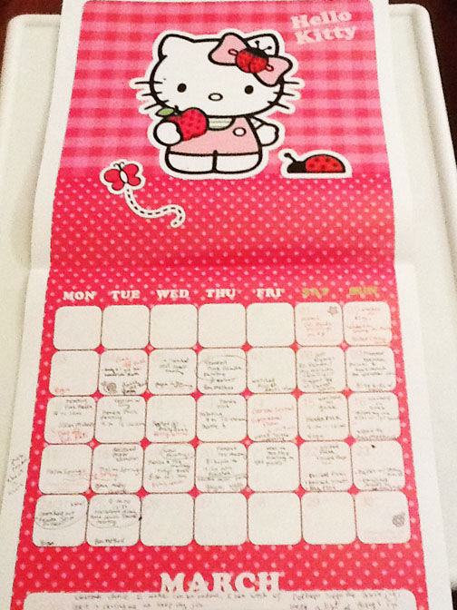 My Hello Kitty calendar! Every year, Tom buys me a Hello Kitty Calendar for Christmas.