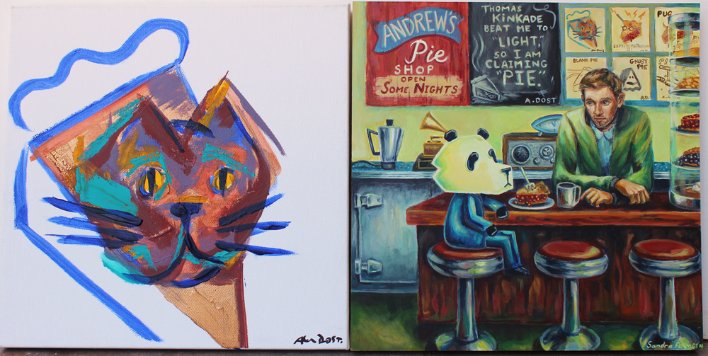 The Painting on the left is by Andrew. The painting on the right is by me.