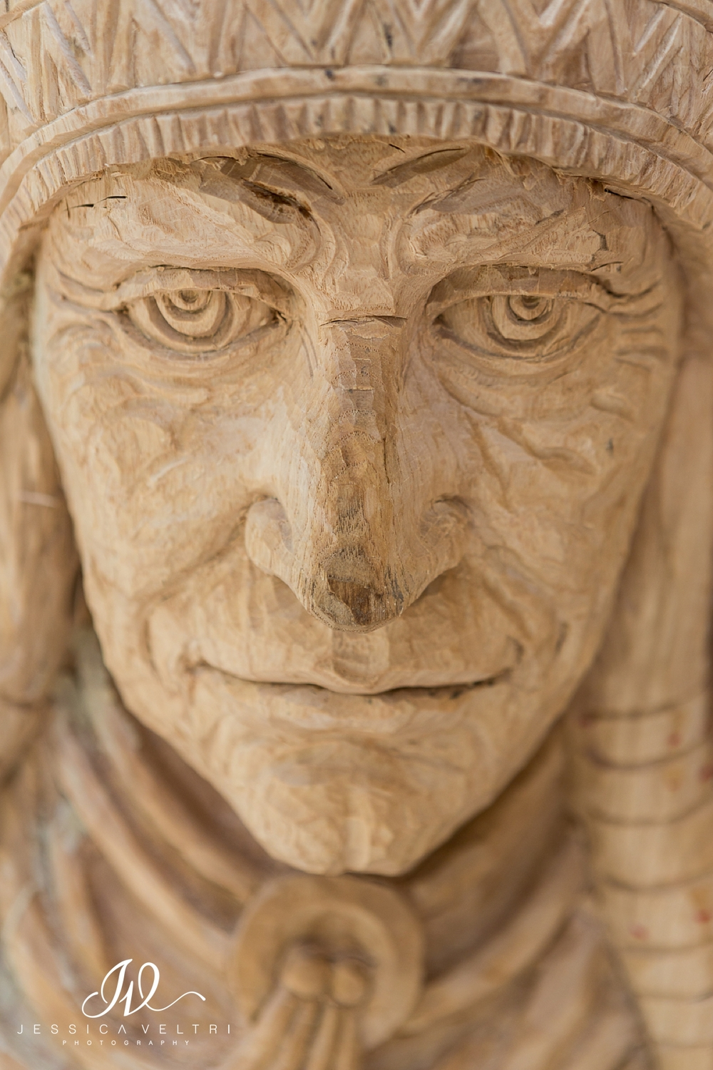 Wood carving of a Native American at the Philippines Embassy